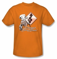 Betty Boop T-shirt Dangerous Curves Adult Orange Tee