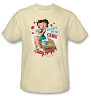 Betty Boop T-shirt Handle With Care Adult Cream Tee Shirt