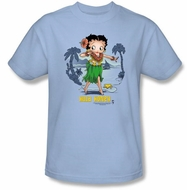 Betty Boop T-shirt Hula Honey Adult Light Blue Tee
