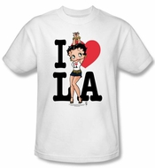 Betty Boop T-shirt I Heart LA Adult White Tee Shirt