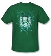 Betty Boop T-shirt Lucky Boop Adult Kelly Green Tee