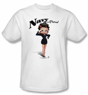 Betty Boop T-shirt Navy Boop Adult White Tee