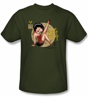Betty Boop T-shirt Nose Art Adult Military Green Tee