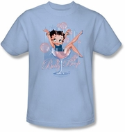 Betty Boop T-shirt Pink Champagne Adult Light Blue Tee