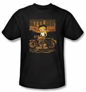 Betty Boop T-shirt Rebel Rider Adult Black Tee
