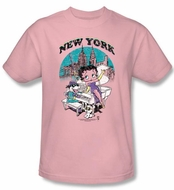 Betty Boop T-shirt Singing In New York Adult Pink Tee