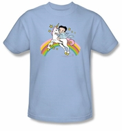 Betty Boop T-shirt Unicorn And Rainbows Adult Light Blue Tee Shirt