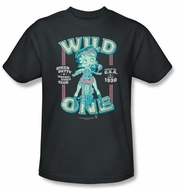Betty Boop T-shirt Wild One Adult Charcoal Tee Shirt