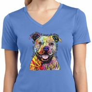 Beware of Pit Bulls Ladies Moisture Wicking V-neck Shirt