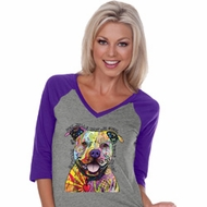 Beware of Pit Bulls Ladies Three Quarter Sleeve V-Neck Raglan
