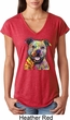 Beware of Pit Bulls Ladies Tri Blend V-Neck Shirt
