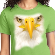 Big Bald Eagle Face Ladies Shirts