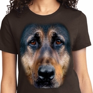Big German Shepherd Face Ladies Shirts