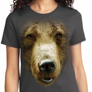 Big Grizzly Bear Face Ladies Shirts