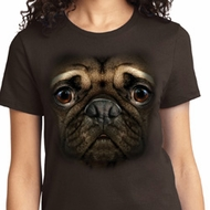 Big Pug Face Ladies Shirts
