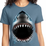 Big Shark Face Ladies Shirts