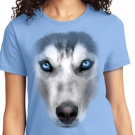 Big Siberian Husky Face Ladies Shirts