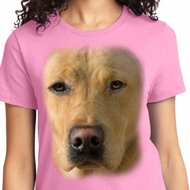 Big Yellow Lab Face Ladies Shirts