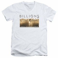 Billions Slim Fit V-Neck Shirt Golden City White T-Shirt