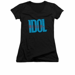 Billy Idol Shirt Juniors V Neck Logo Black T-Shirt