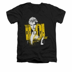 Billy Idol Shirt Slim Fit V-Neck Portrait Black T-Shirt
