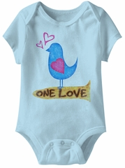 Bird One Love Funny Baby Romper Blue Infant Babies Creeper