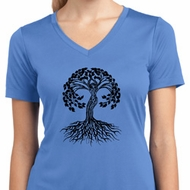 Black Celtic Tree Ladies Moisture Wicking V-neck Shirt