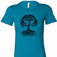 Black Celtic Tree Ladies Yoga Shirts