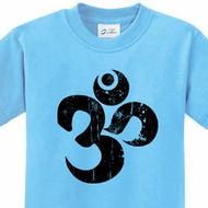Black Distressed OM Kids Yoga Shirts