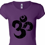 Black Distressed OM Ladies Yoga Shirts
