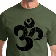 Black Distressed OM Mens Yoga Shirts