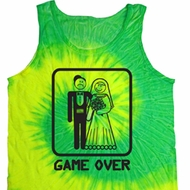 Black Game Over Tie Dye Tank Top