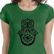 Black Hamsa Ladies Yoga Shirts