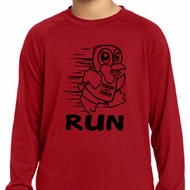 Black Penguin Power Run Kids Dry Wicking Long Sleeve Shirt