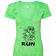 Black Penguin Power Run Ladies Burnout V-neck Shirt