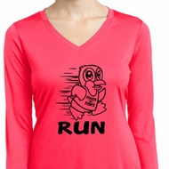 Black Penguin Power Run Ladies Dry Wicking Long Sleeve Shirt
