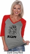 Black Penguin Power Run Ladies Three Quarter Sleeve V-Neck Raglan
