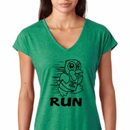 Black Penguin Power Run Ladies Tri Blend V-Neck Shirt