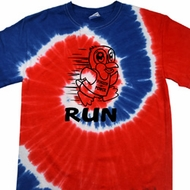 Black Penguin Power Run Spiral Red Blue Patriotic Tie Dye Shirt