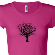 Black Tree of Life Ladies Yoga Shirts