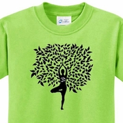 Black Tree Pose Kids Yoga Shirts