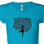 Black Tree Pose Ladies Yoga Shirts