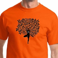 Black Tree Pose Mens Yoga Shirts