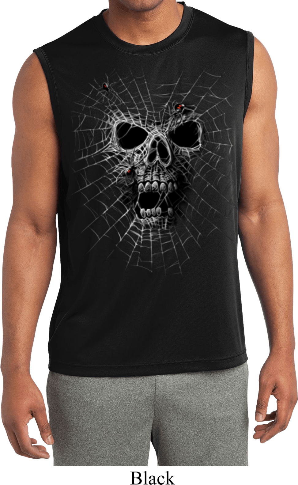 Black Widow Mens Sleeveless Moisture Wicking Shirt Black