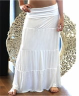 Womens Boho Fold Over MAxi Skirt