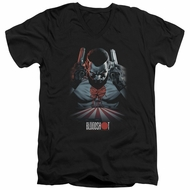 Bloodshot Shirt Slim Fit V-Neck Blood Lines Black T-Shirt