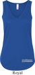 Blue Dodge Charger Bottom Print Ladies Flowy V-neck Tank Top