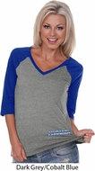 Blue Dodge Charger Bottom Print Ladies Three Quarter Sleeve V-Neck