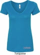 Blue Dodge Charger Bottom Print Ladies V-Neck Shirt
