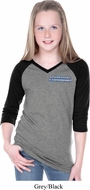 Blue Dodge Charger Pocket Print Girls Three Quarter V-Neck Shirt